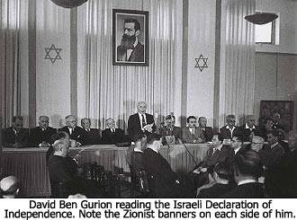 Ben Gurion reading the Israeli Declaration of Independence