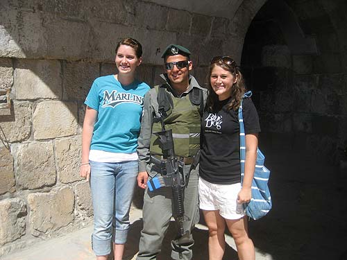 Israeli Soldier with Brittany and Savannah