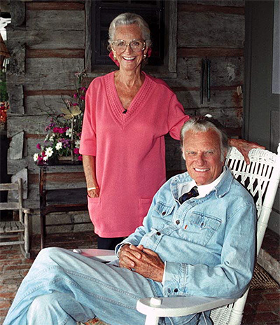 Billy Graham and his wife Ruth on their 50th wedding anniversary