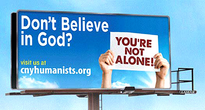 A billboard sponsored by the Central New York Humanists